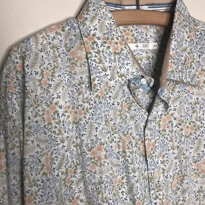 Floral mens dress shirt Burma Bibas XL French cuff